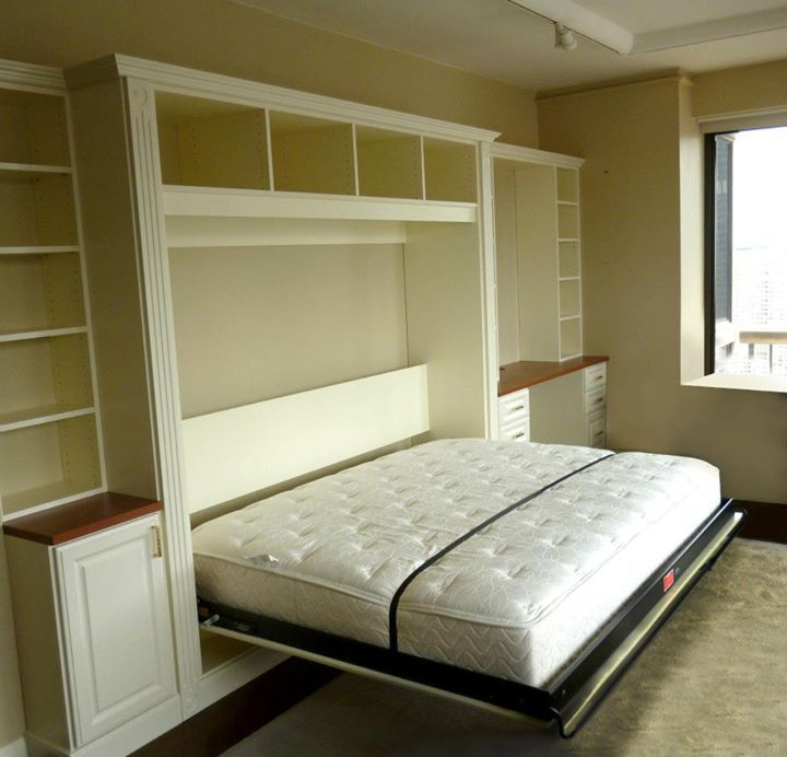 Queen Size Side Mount Murphy Wall Bed and Home Office In Ivory With ...