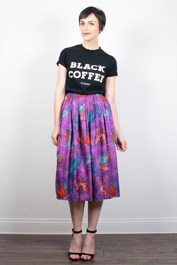Vintage 80s Skirt Purple Leaf Floral Print Midi Skirt High Waisted Skirt Tea Length Skirt New Wave 1980s Knee Length Skirt Mod XS S Small by ShopTwitchVintage #vintage #etsy #80s #1980s #skirt #midi #floral #newwave