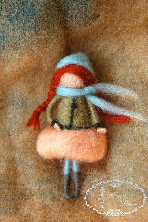 Őszi tündér - tűnemezelt baba, dekoráció, függődísz, Dekoráció, Játék, Baba, babaház, Meska