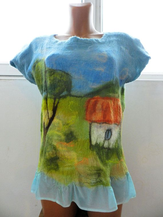 Nuno felt blouse summer landscape country house by love4felt