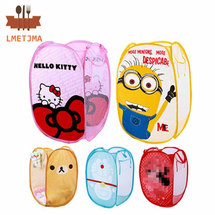 LMETJMA Minions Hello Kitty Folding Dirty Clothing Laundry Bucket Storage Basket Children's Toys Shoe Sundries Storage Organizer