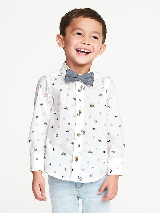 4ac1cb958c34 Printed Built-In Flex Shirt & Bow-Tie Set for Toddler Boys | Easter ...