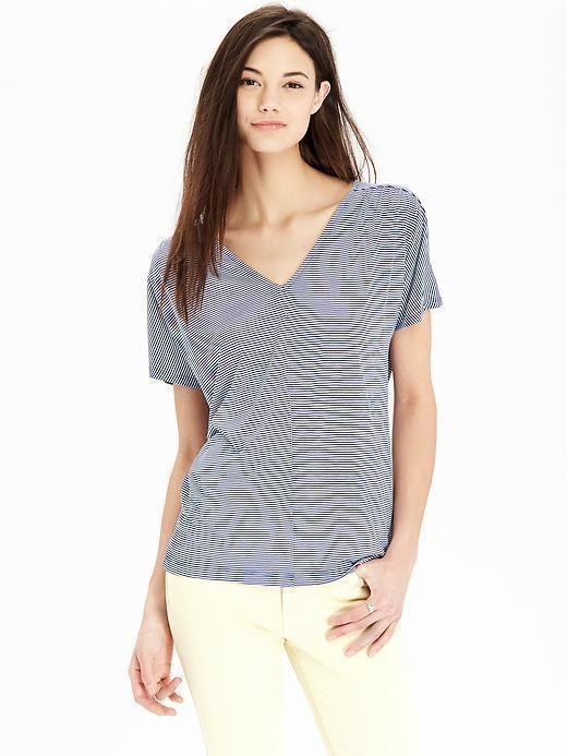 Dolman Stripe Tee XL Old Navy Women's V-Neck Top Blue NEW with TAG #OldNavy #KnitTop #Casual