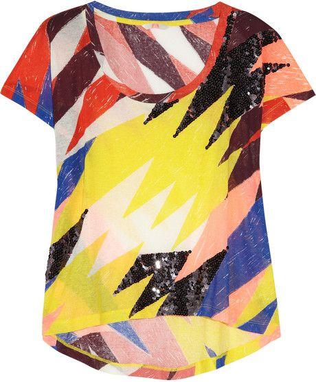 Sass & Bide Multicolor Silence Is Golden Embellished Cotton Tshirt