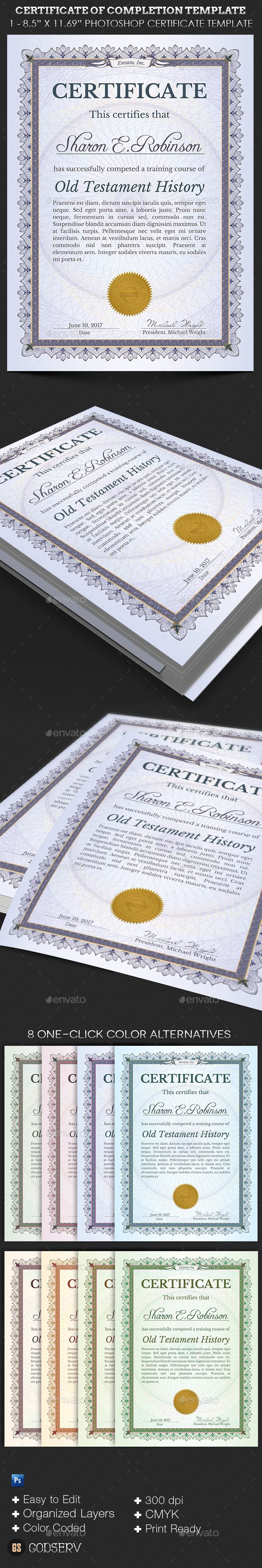 Certificate of Completion Template #ornament #purple  • Download here → https://graphicriver.net/item/certificate-of-completion-template/12265431?ref=pxcr