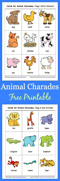 Free Printable: Animal Charades Game for Kids (with Zoo and Farm Animals) // Imprimible gratis: Divertidos animales. Juego para niños con animales del Zoo y la granja
