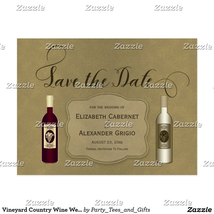 Vineyard Country Wine Wedding Save The Date Postcard This personalized wine themed wedding Save The Date design features a dark red wine and a white wine bottle with grapes, maroon text and a brown -tan background. Great for a winery, wine, vineyard or wine lovers wedding.