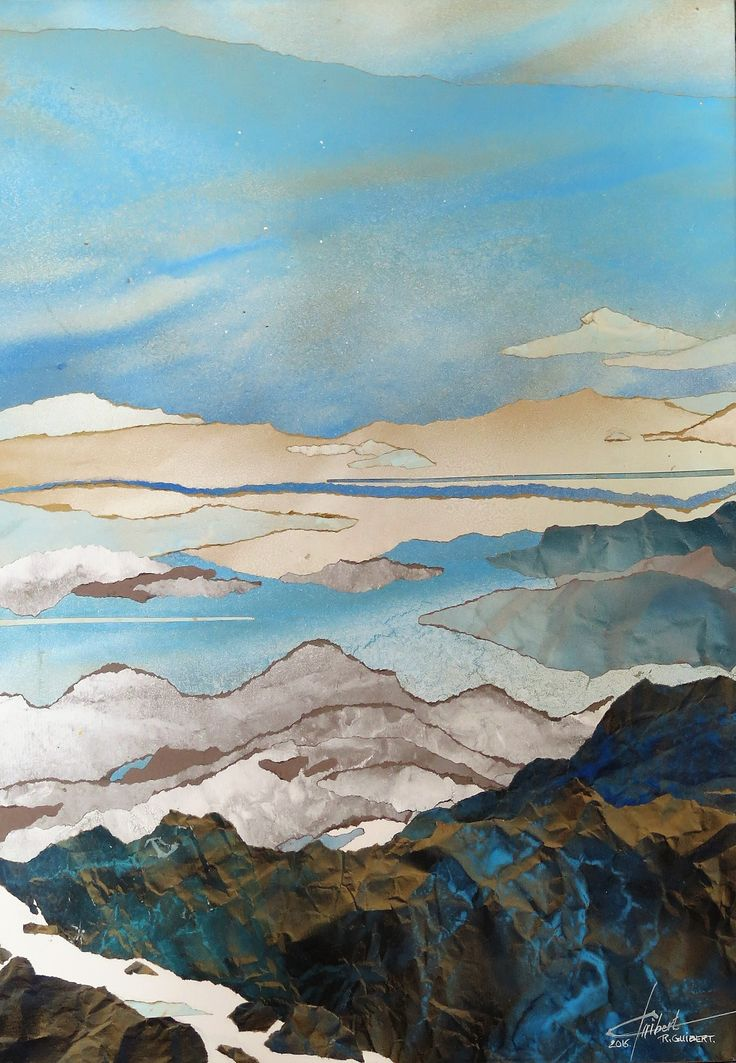 aquarelle collage papier kraft 50 x 70 cm Raymond GUIBERT