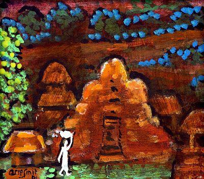 """Night Scene"" by Arie smit, Size: 25cm x 28cm, Medium: Acrylic on canvas, Year: 2003"