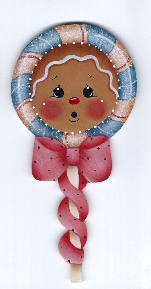 HP GINGERBREAD Lollipop (blue candy, pink ribbon) FRIDGE MAGNET #Handpainted