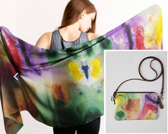 Pair of 2 same design scarf and clutch bag  modal mini bag