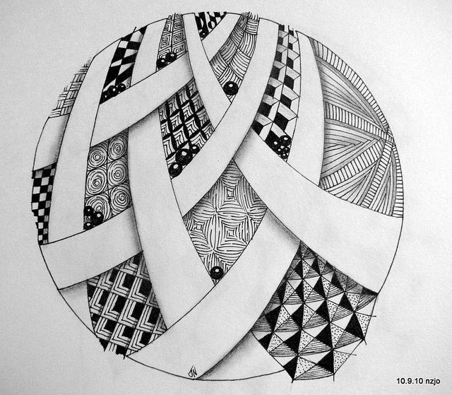 Zentangle pattern. Love the circle shape and negative space ribbons