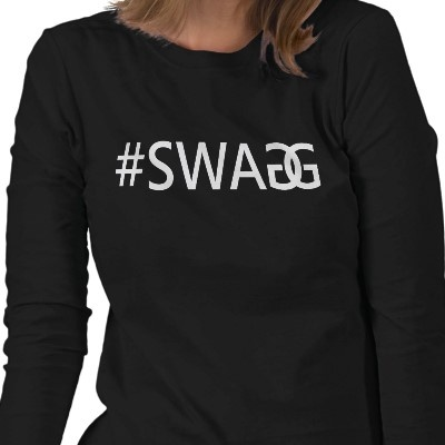 #SWAG / SWAGG Ladies Long Sleeve Tee. Funny, Trendy and Cool Quote with Hash Tag.