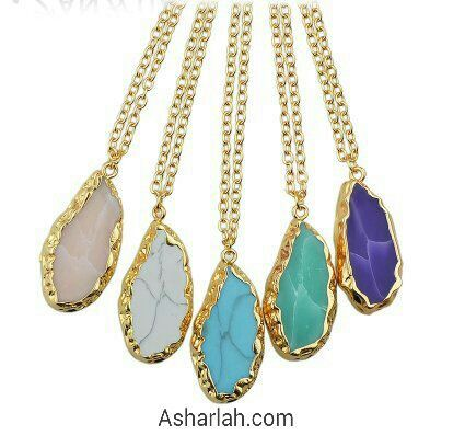 Natural stone gold edging necklace pendant