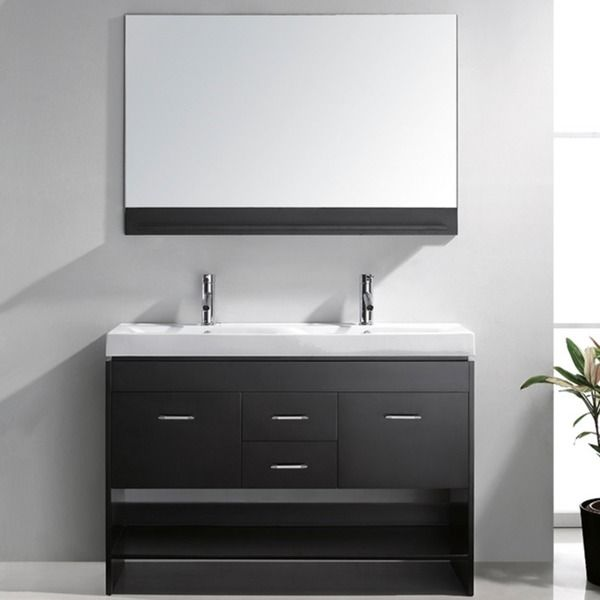 Virtu USA Gloria 48 Inch Ceramic Double Sink Bathroom Vanity Set With  Faucets And Top Option By VIRTU USA