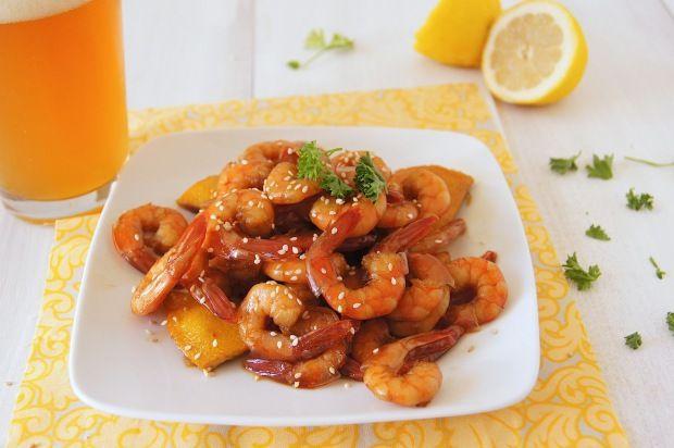 Fried shrimp in sauce (Жареные креветки в соусе)