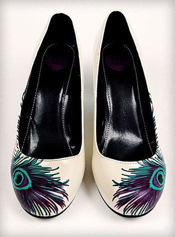 Walmart shoes + Peacock Feather + Mod Podge.