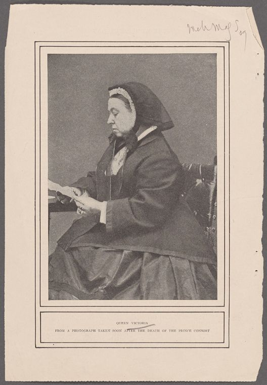 Queen Victoria from a photograph taken soon after the death of the Prince consort. From New York Public Library Digital Collections.