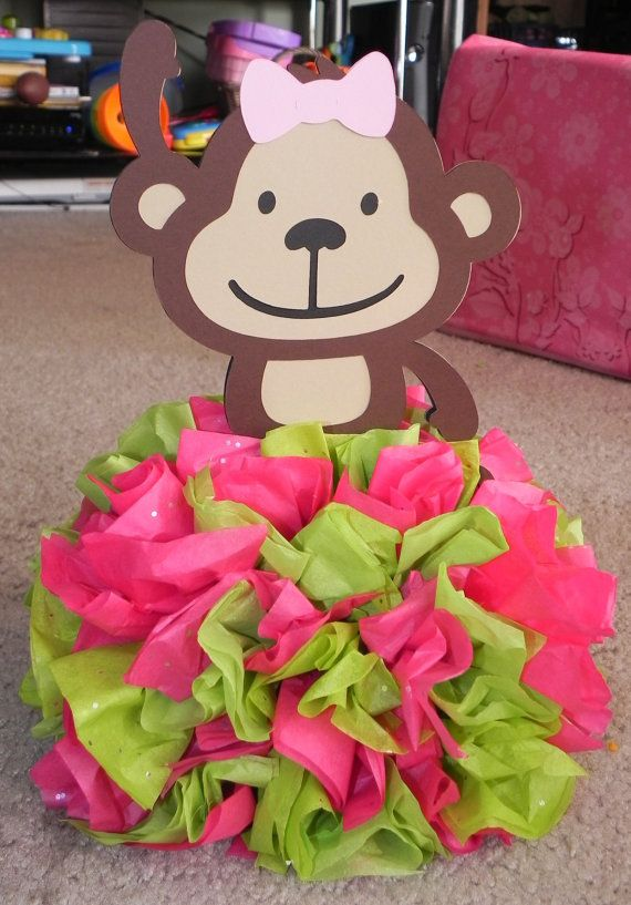 Mod Monkey Pink and Lime Green Centerpiece by 3rdgenerationcrafts, $8.50