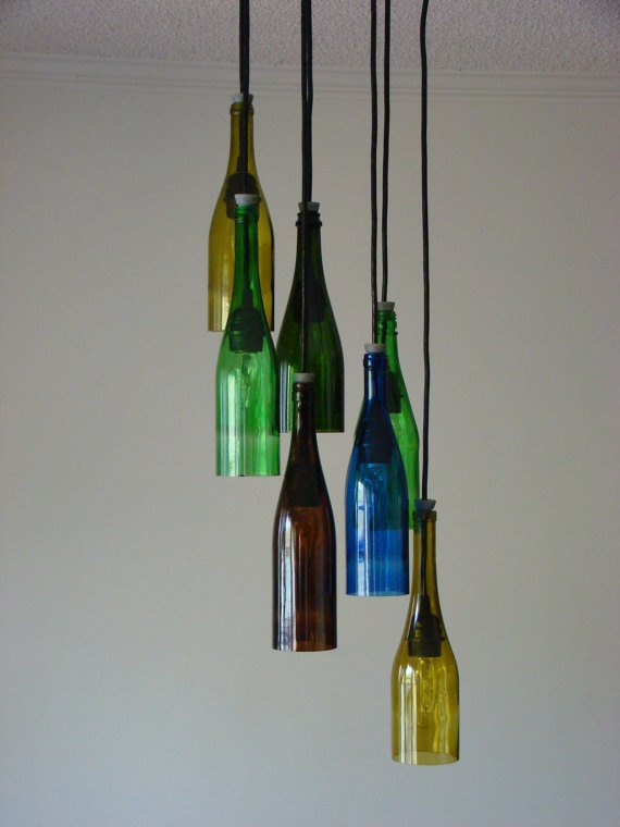 Seven Light Wine Bottle Chandelier in assorted colors- for the wine room in the farm house?