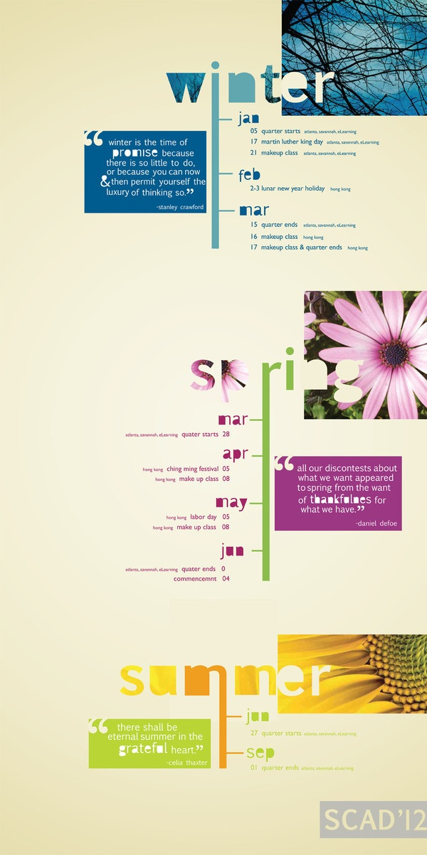 SCAD Academic Calender by Ana De Leon, via Behance