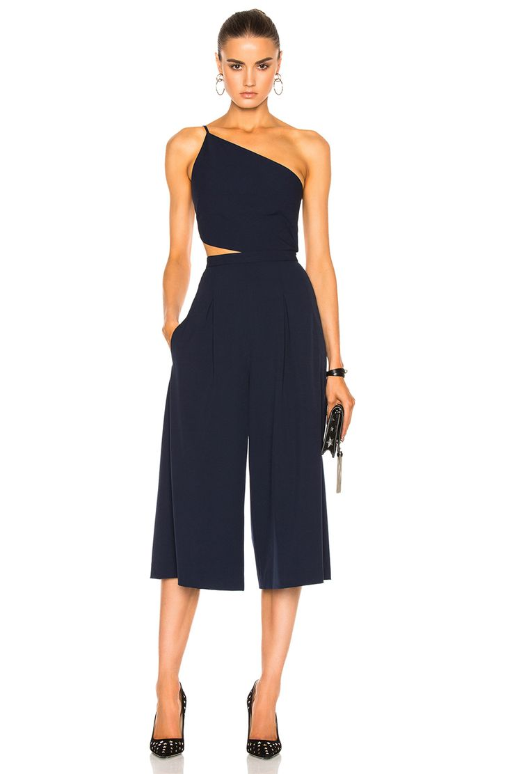 Image 1 of Michelle Mason Asymmetrical Bandeau Jumpsuit in Prussian Blue