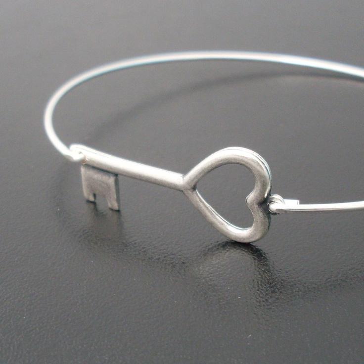 Skeleton Key Bracelet - Silver Heart Key Bangle Bracelet - Skeleton Key Heart. $15.95, via Etsy.