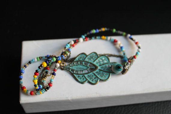 Boho Bracelet seed beads filigree charm turquoise by YurmanColor