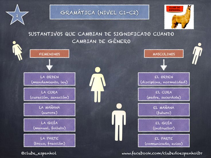 En español, los sustantivos pueden significar cosas diferentes según el género.  Leia mais: http://www.clubedoespanhol.com.br/news/gramatica-sustantivos-que-cambian-de-significado-segun-el-genero-nivel-c1-/