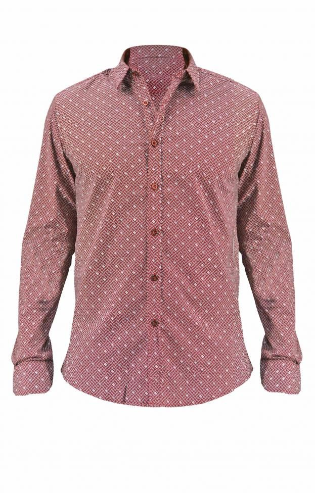Ανδρικό πουκάμισο με τύπωμα POUK-1629 | Πουκάμισα > Άνδρας | Μπορντό