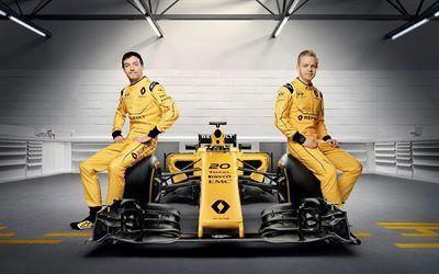 壁紙をダウンロードする リノ, 式1, デンマークのレーシングドライバー, 英国のレーシングドライバー, kevin magnussen, jolyonパーマー, ルノー
