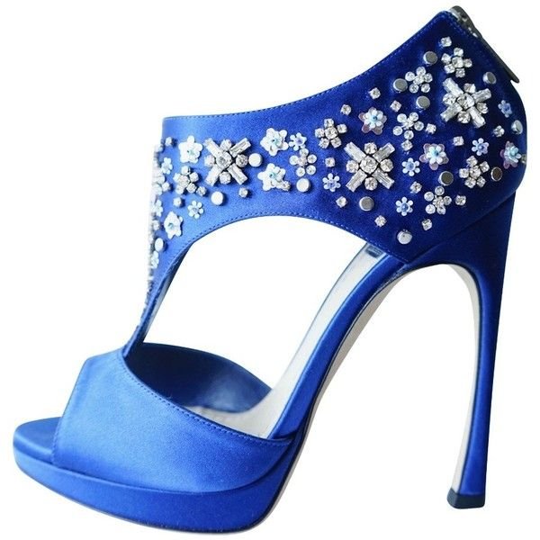 Pre-owned Dior Parure Blue Satin Sandals (23.285 RUB) ❤ liked on Polyvore featuring shoes, sandals, blue, blue platform shoes, blue high heel sandals, blue satin shoes, peep toe sandals and t-strap sandals