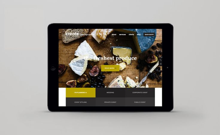 create catering melbourne, interface design
