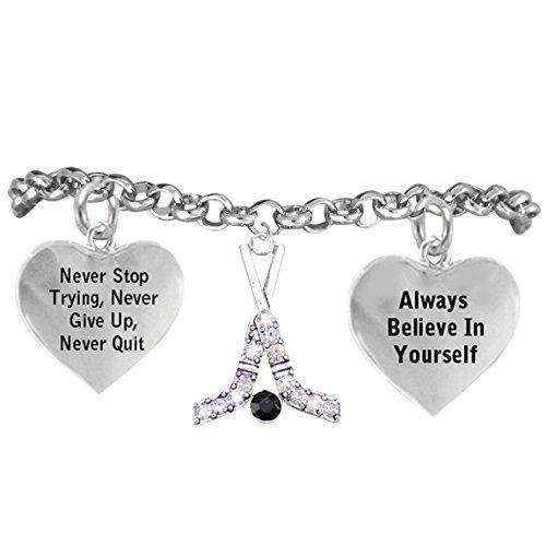 """Ice Hockey Crystal Sticks """"Never Give Up, Never Quit"""" Adjustable- Hypoallergenic Nickel Free"""