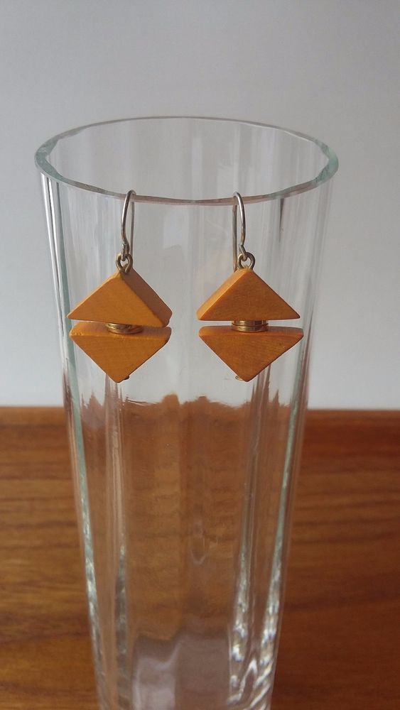 Aarikka Finland Vintage Marie Earrings Yellow Wood Dangle 1980s Retro #Aarikka