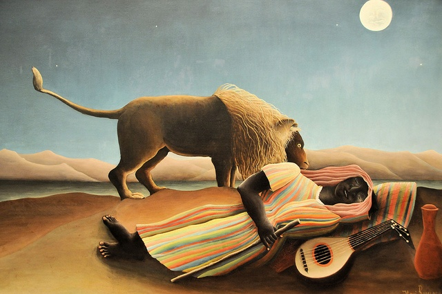 Henri Rousseau - The Sleeping Gypsy at MoMA New York by mbell1975, via Flickr---this painting has a haunting quality; in my top ten faves.