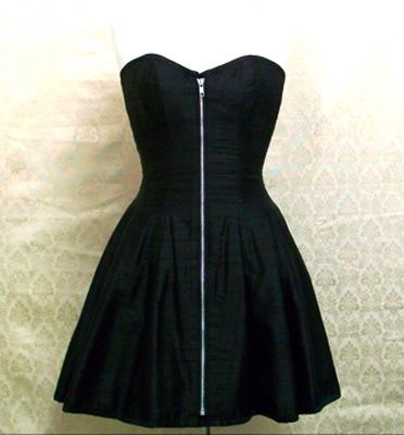 <3<3<3<3 30 Corseted DressBlack SilkExposed Zipper | Delicious Corsets