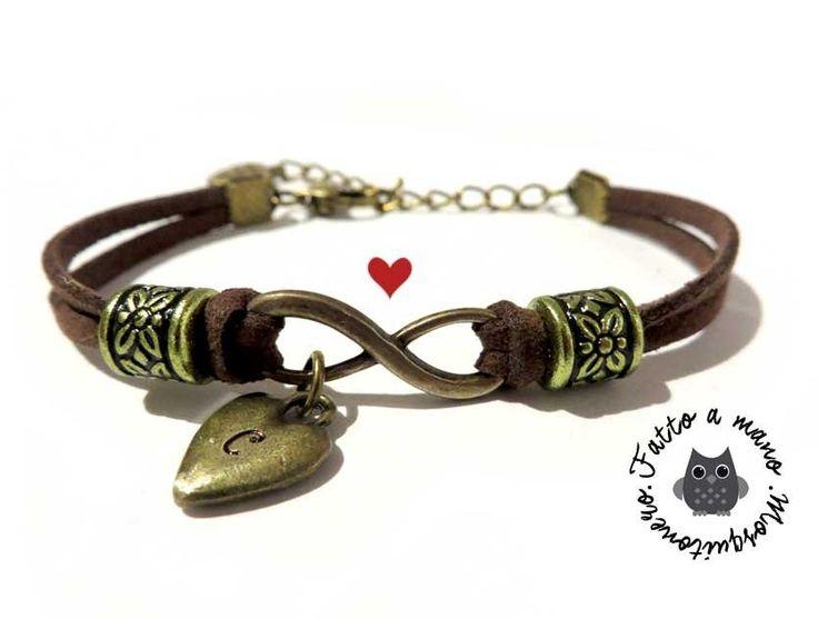 Bracciale INFINITO donna Iniziale NOME cuore braccialetto pelle infinity amore Otto, by «:::Mosquitonero Shop:::», 9,90 € su misshobby.com