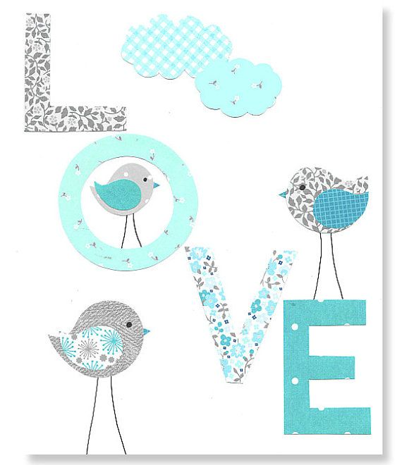 Love Bird Nursery Art Print Aqua and Gray by SweetPeaNurseryArt, $15.00 I could make this- card stock