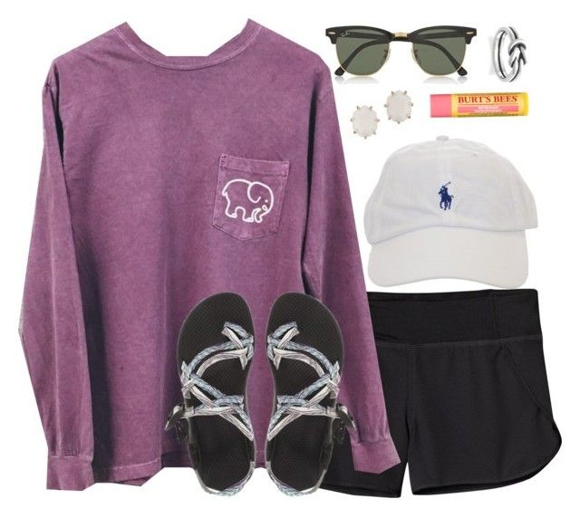 """football saturdays :)"" by alexisfloyd ❤ liked on Polyvore featuring Patagonia, Chaco, Ray-Ban, Avery, Kendra Scott and Burt's Bees"