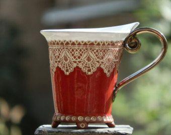 Keramische Cup, Tea Cup, Handbuilding technieken, keramiek en aardewerk, handgemaakte cup, koffiekopje, rode kop, koffiemok, bruiloft cadeau, uniek