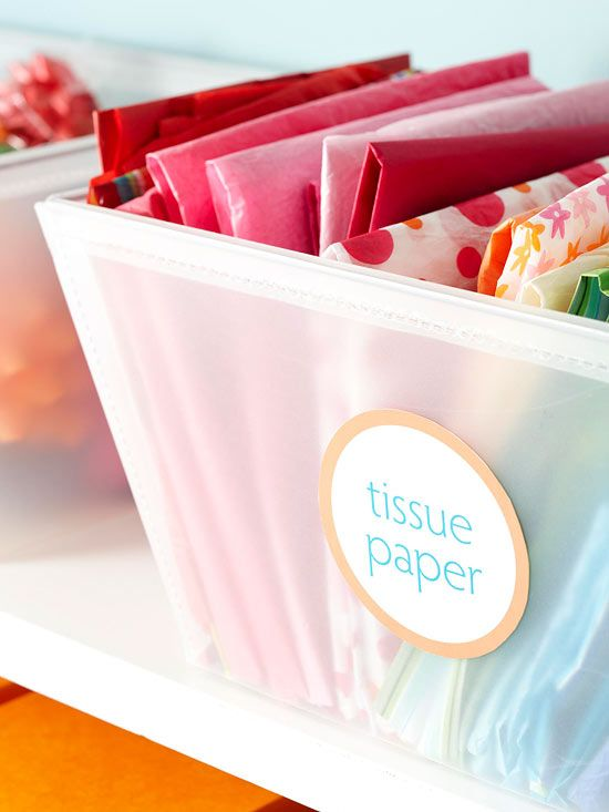 Clear storage boxes + attractive labels = yes please. Especially for visually appealing tissue paper collections like this one.