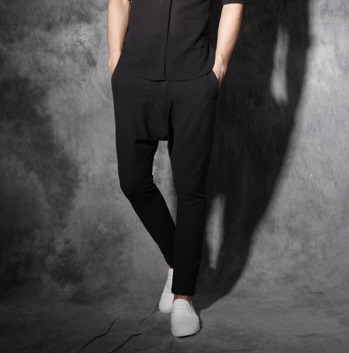 Chinese style mens linen pants casual male personality drawstring elastic waist harem pants mens feet pant pantalon hombre white