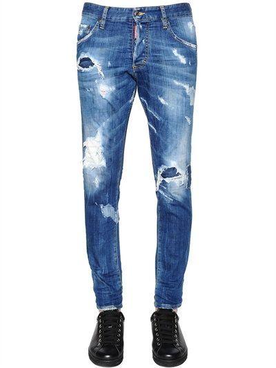 f7e1f3d3b7 DSQUARED2 15Cm Skinny Fit Stretch Denim Jeans, Blue. #dsquared2 #cloth  #jeans | Farmer | Denim jeans, Denim jeans men és Mens distressed skinny  jeans