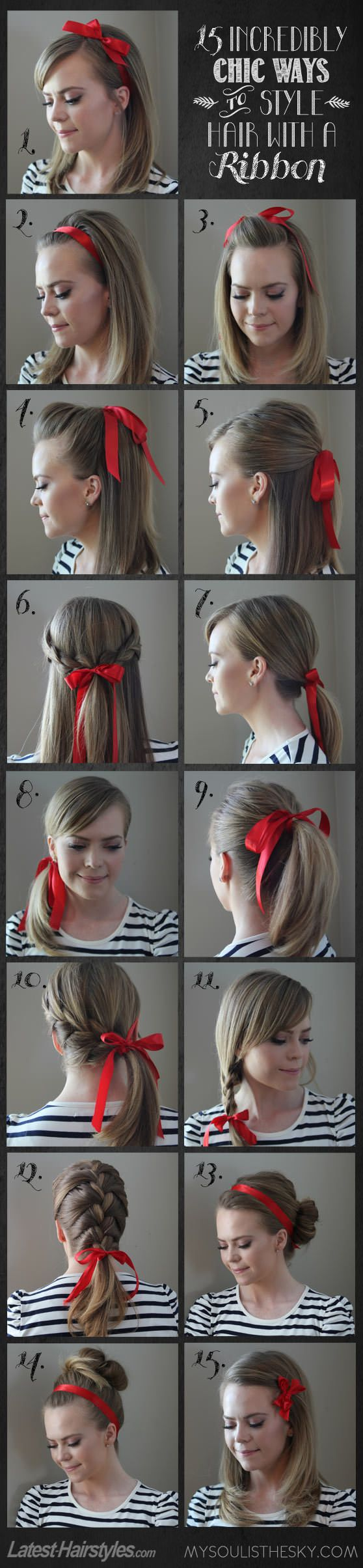 Incredibly chic ways to style your #hair with a ribbon...which to try first?? (click through to see tutorials for all 15 looks) @Rachael E E E Rostad