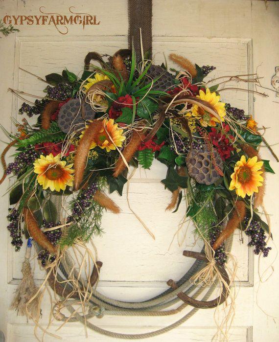Rope Wreath with Horseshoes  Cowboy Western Home by GypsyFarmGirl, $65.00
