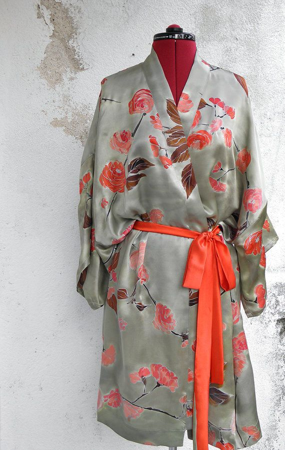 Hand painted silk satin kimono- Sakura Blossoms. Sage Gray and Coral Kimono Robe- Silk Tunic- Hand Painted Kaftan Robe-Floral Silk Kimono. Womens Kimono Sakura Blossoms.  Sage Silk Handpainted Kimono Robe with Vermilion red belt. Luxurious Silk Tunic, Unique hand painted Satin Kimono,  Made to order The kimono is made to order and Ill need approx. 3-4 weeks to paint, set the colors by professional steaming process and sew it.  Hand painted on 100% pure silk satin.  ►hand washable in cool…