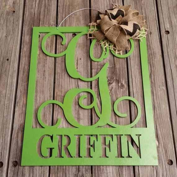 20 Wooden Monogram Door Hanger  Family Monogram  by NeedmoreHeart