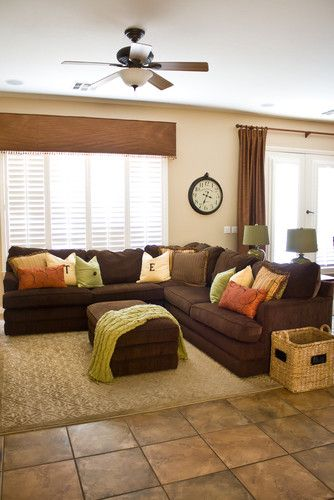 Blue Living Room With Brown Furniture