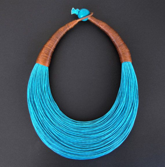 Statement Fiber Necklace Minimalist Jewelry by superlittlecute